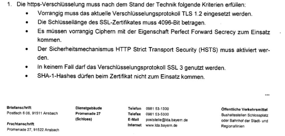 Anforderungen des Bayerischen Landesamd für Datenschutzaufsicht (BayLDA)